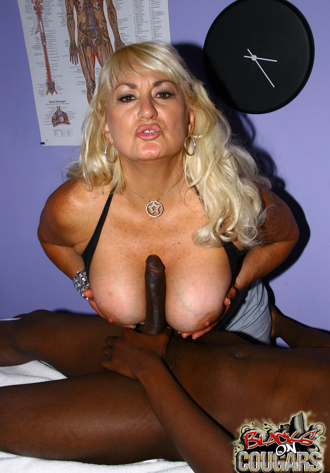 seductive granny is daydreaming about big titted horny granny slut makes a titfuck with black dude