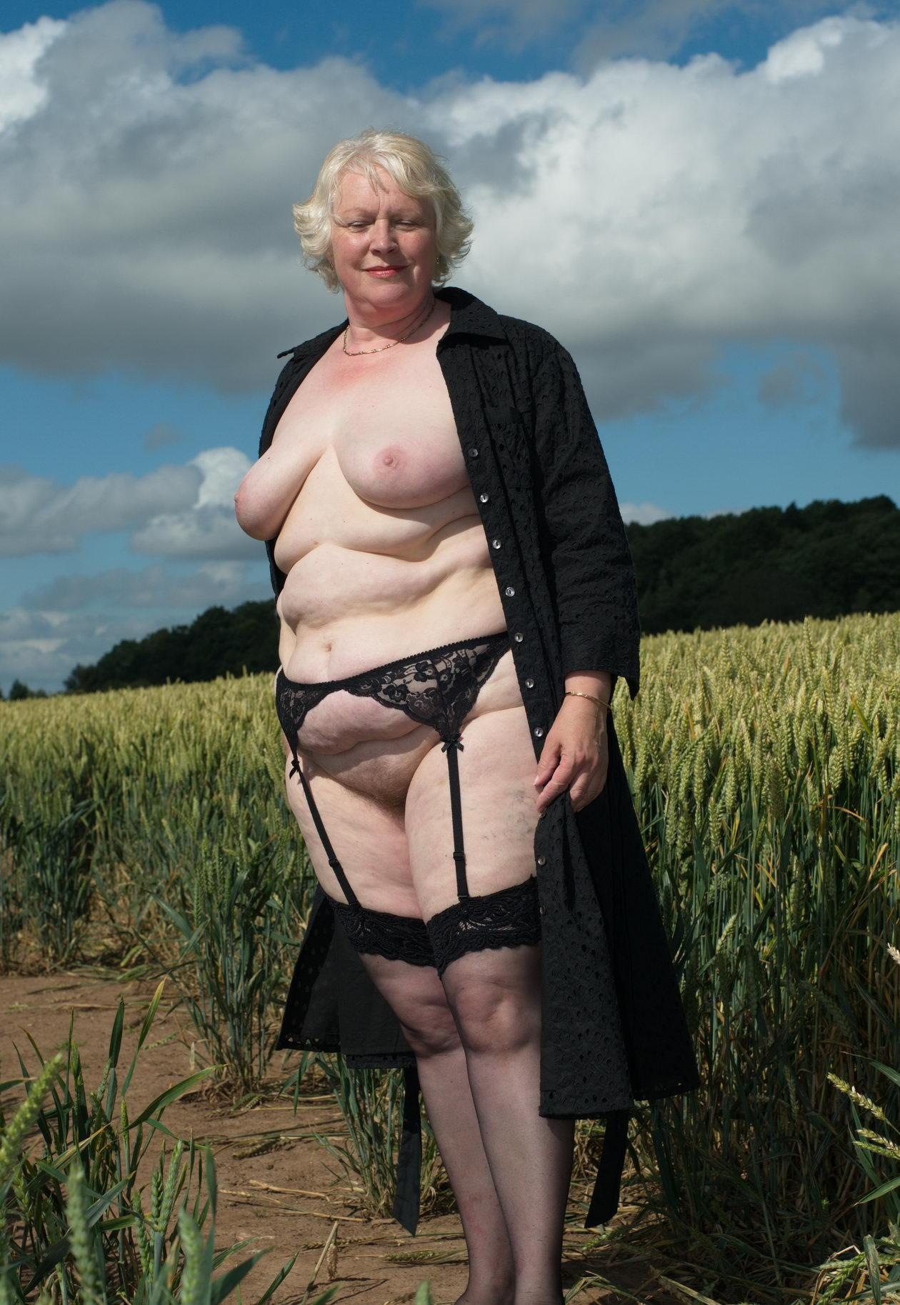 perverted granny likes wearing a corset outdoors