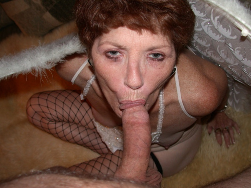 beautyful granny is daydreaming about to take it