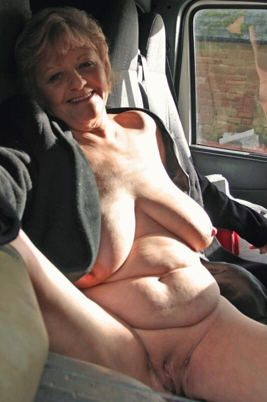 Angelina a seductive granny loves to tease her granny pussy in public