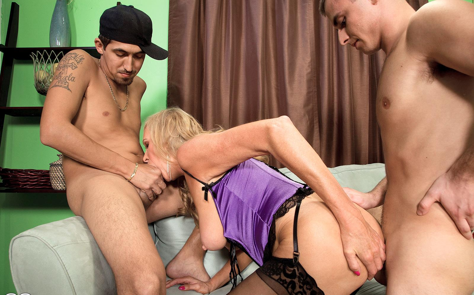 Karissa a lusty granny gangbanged by two young studs