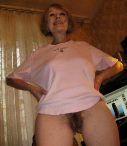 Alexus a 72 old lustful FLASHING GRANNY posing bottomless and only showing her hairy sexy cunt