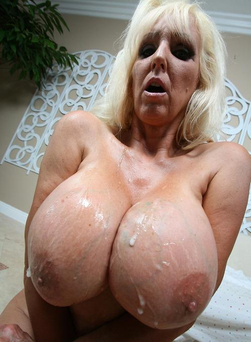 Janelle a 65 old fuckable BIG TITTED GRANNY took a load of sperm on her huge xxl titties