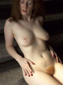 Elisa a 65 old addictive FLASHING GRANNY has a redhair unshaved pussy