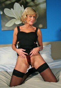 Tessa a 66 old amorous HOMEMADE GRANNY teasing with her panties in her pussy
