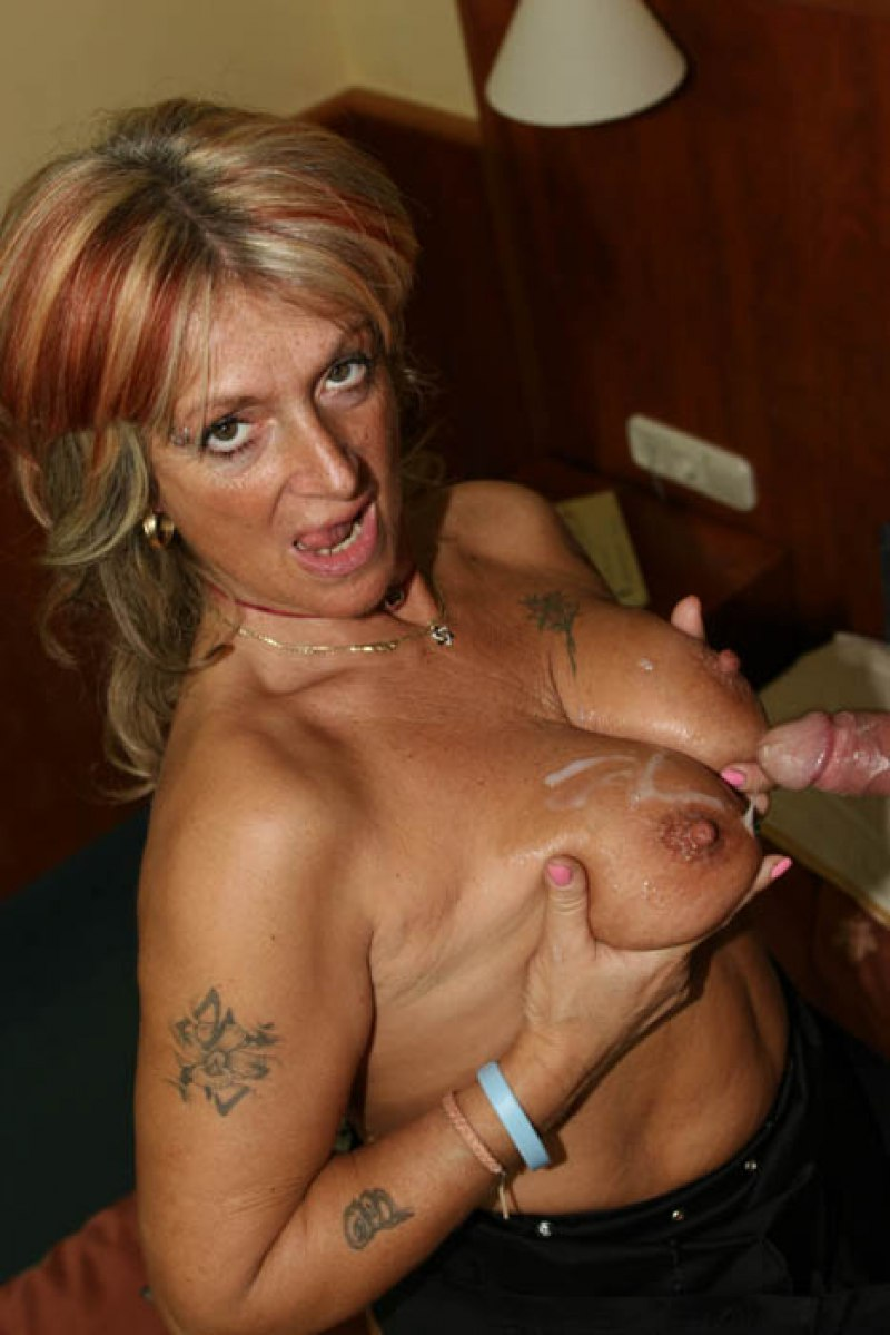 Carissa a 67 old nice BIG TITTED GRANNY just took a load on her old huge tits