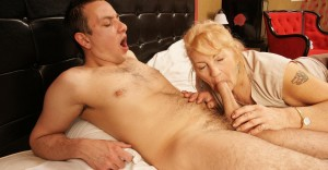 Tracy a 67 old horny COCKSUCKING GRANNIES giving a horny young policeman a free blowjob