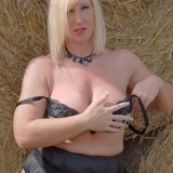 horny mature mom shows her genitals at the countryside #4