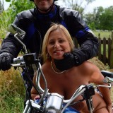 adorable biker mom riding nude on a harley with her younger lover #1
