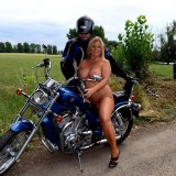 adorable biker mom riding nude on a harley with her younger lover #5