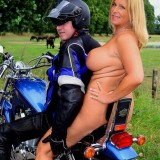 adorable biker mom riding nude on a harley with her younger lover #9