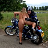 adorable biker mom riding nude on a harley with her younger lover #3