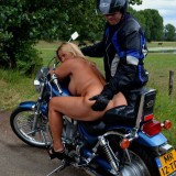 adorable biker mom riding nude on a harley with her younger lover #7