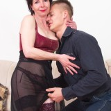 older experienced woman shows a young boy how to make love #8