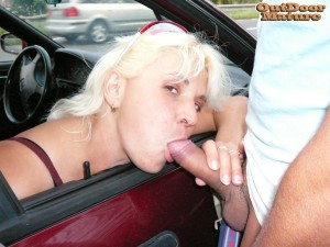 hot granny prositute gives drive by blowjobs