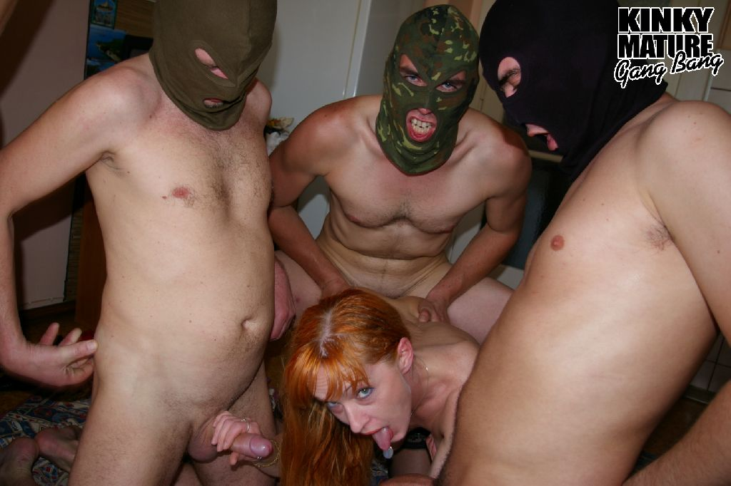 2 desperate older granny  ladies joing a underground gangbang with 5 white guys