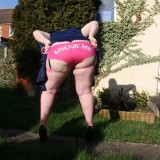 sweet homemade fatty granny shows her pink panties #1
