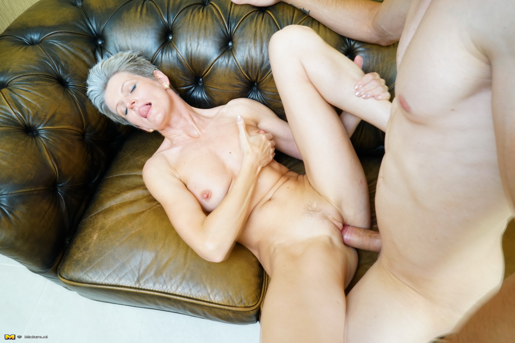 young dude gets his first blowjob from granny