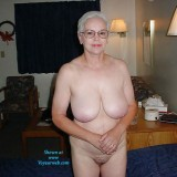 70 years old hottie granny posing on her bed #2