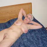 70 years old hottie granny posing on her bed #4
