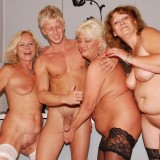 hot reverse gangbang with 70 years old granny  #4