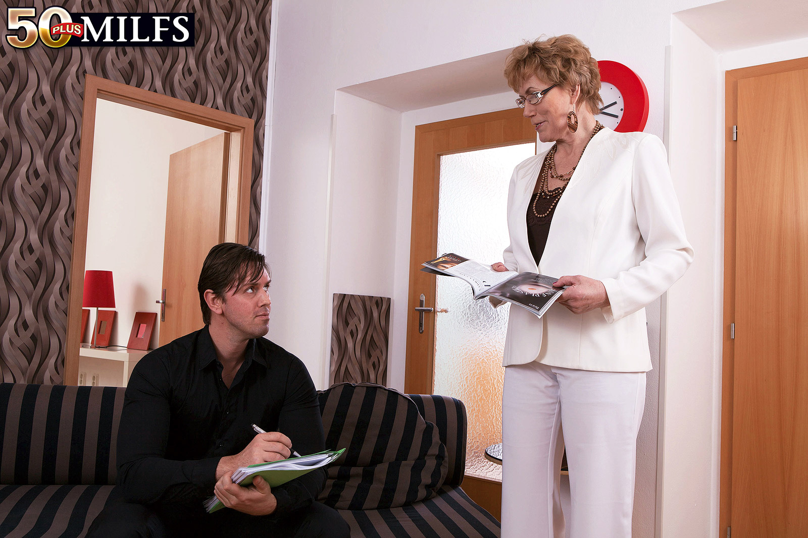 Gerogina a 60 years old business granny makes y young assistant cum inside her ass and pussy