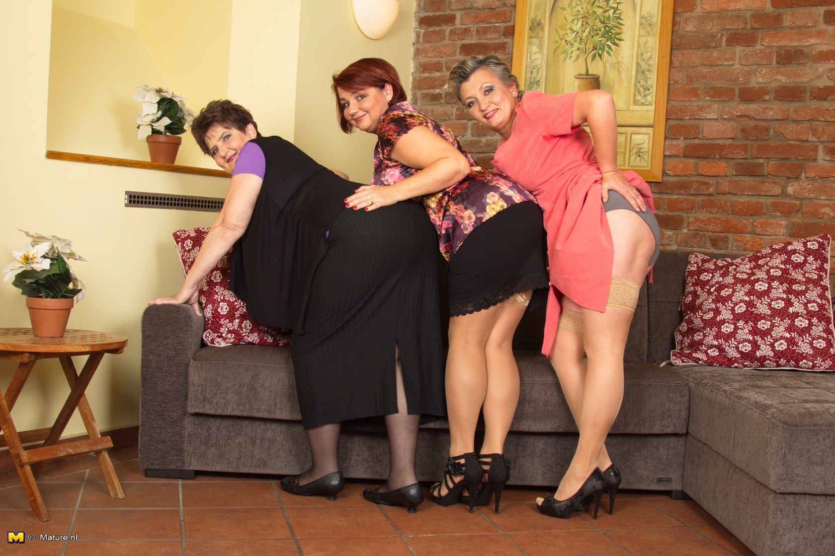 lucky young nerd is caught between 3 mature ladies and unloads on all of them