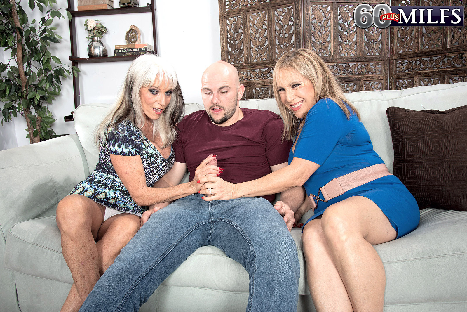 Sally D'Angelo and Luna Azul engaged in lustful forbidden granny threesome