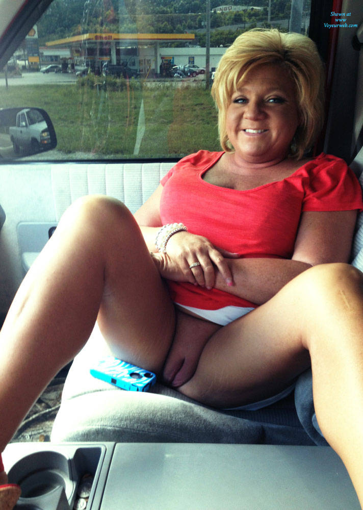 granny flashing pussy at the truckstop #1