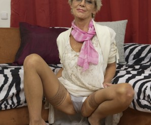 skinny 70years old granny seducing a young stud with a panty upskirt flash