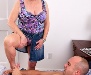 70 years old golden ager sex-addict jewel flashing her panties and consoling her young neighbour