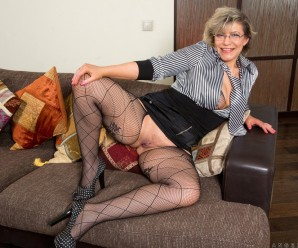 kinky granny teasing her old hole upskirt and crouchless in sexy stockings
