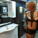 kinky aged nudist flashing her tits and pussy in a lidl store #2_thumb