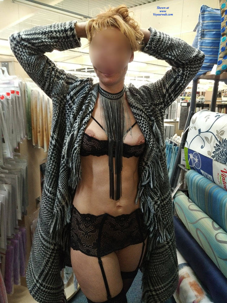 kinky aged nudist flashing her tits and pussy in a lidl store #1