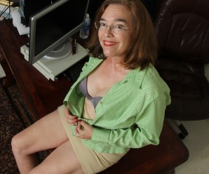 kinky american mature wife exposing her panties and wet slit inside her home office
