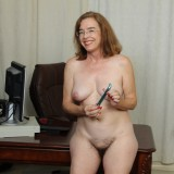 kinky american mature wife exposing her panties and wet slit inside her home office #14_thumb
