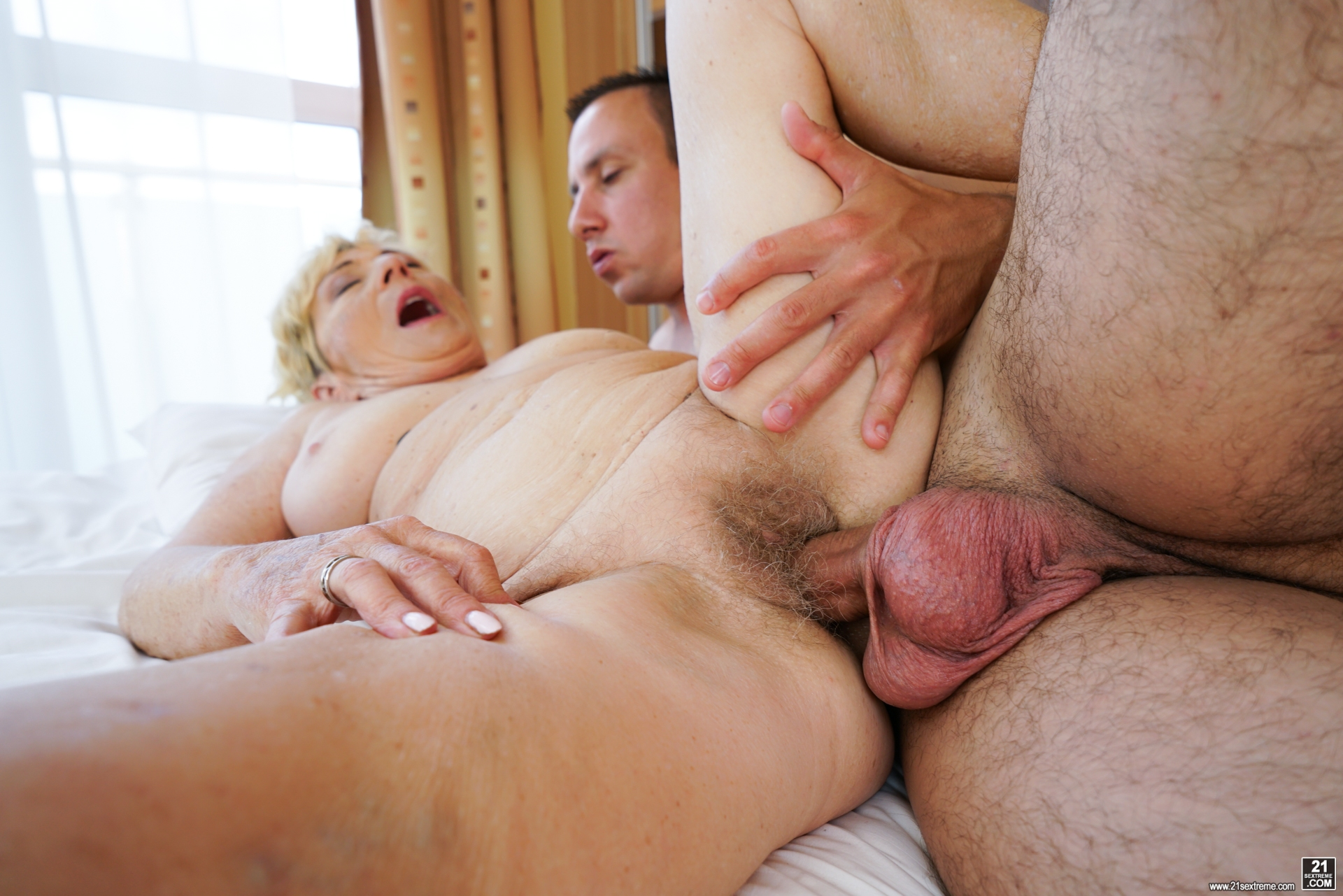 Granny Malya is intensive enjoying seeing her  vintage pussy fucked by Rob's young hard stick #1