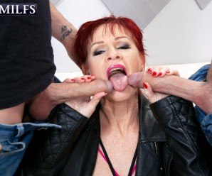 granny hooker Caroline Hamsel makes huge sales – she takes on two young curious guys with her mouth and pussy
