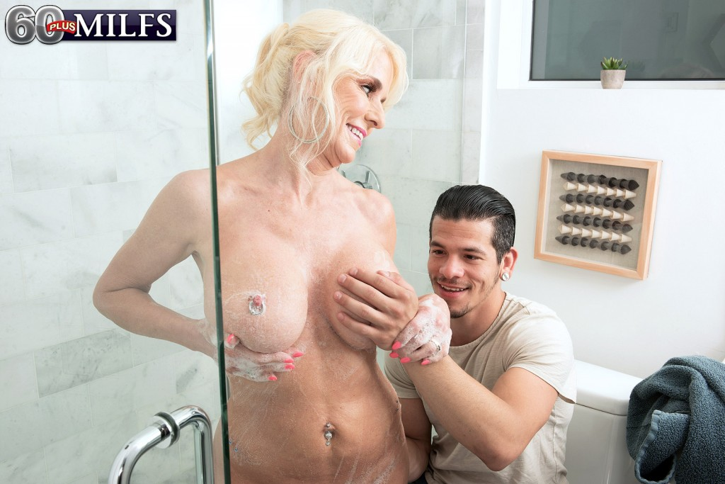 60plus milf camille encounters someone in the shower
