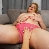 Dominant granny with huge hairy vagina persuades young woman to lick and kiss picture 10
