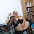 her last day in the office before she retires – she shows her big old pussy