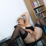 her last day in the office before she retires - she shows her big old pussy picture 10