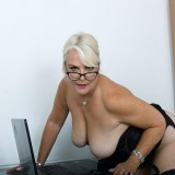 her last day in the office before she retires - she shows her big old pussy picture 9