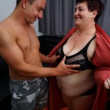 young man lies down on the old fat bbw granny and comes quickly picture 10