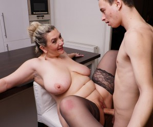 young man unloads his young fertile seed on granny's old tits