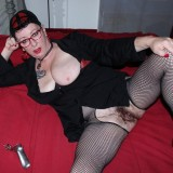 perverted french granny plays her huge hairy pussy with speculum picture 6