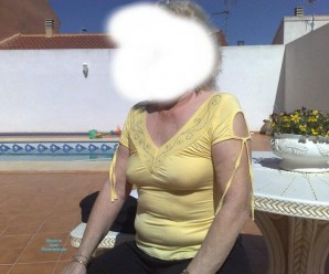 hot anonymous granny flashing a bit of her old tits