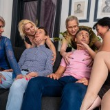 a overcrowded granny gangbang - 4 oldies sharing 2 young dicks picture 5