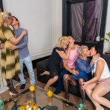 a overcrowded granny gangbang - 4 oldies sharing 2 young dicks picture 6