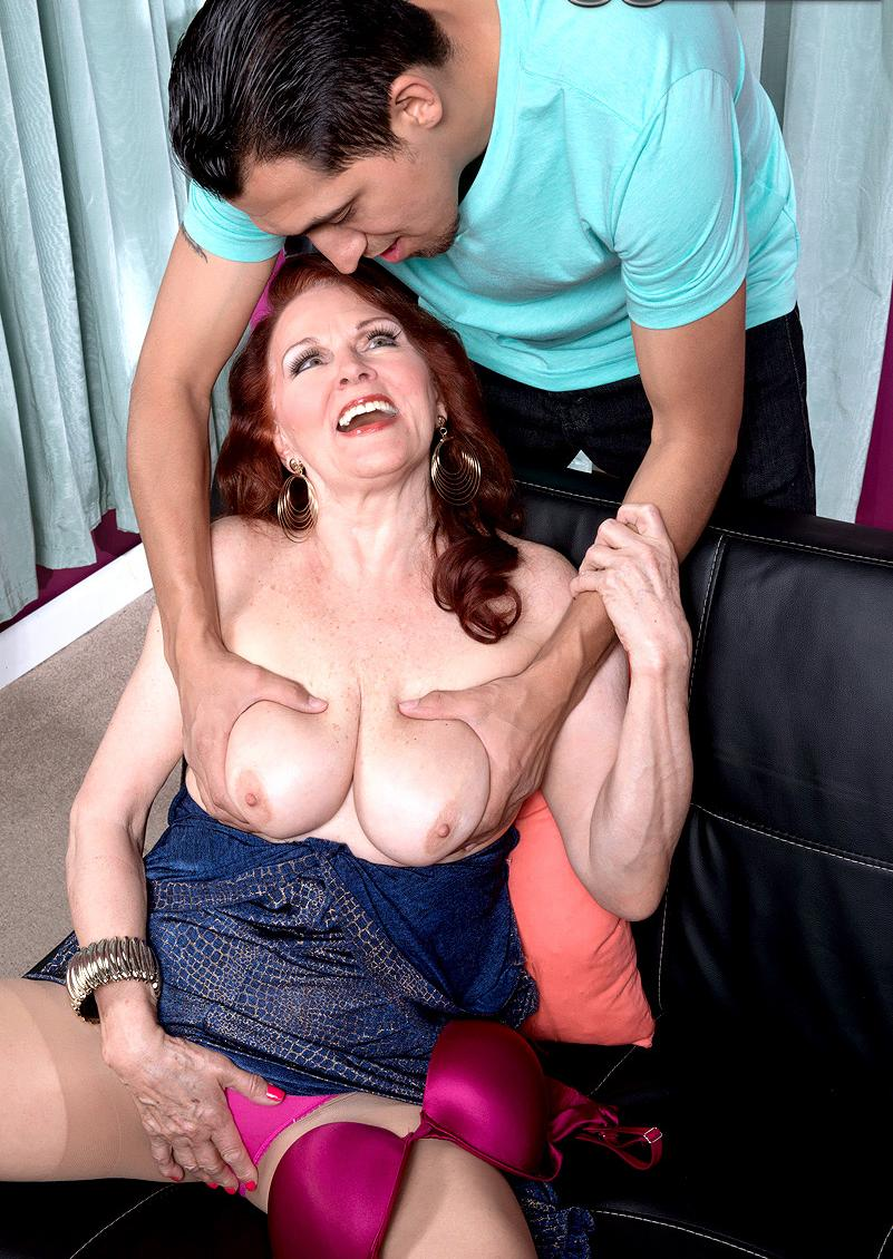 Ciara a granny mom loves to impress young man with her old tits